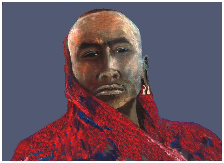 Massai Portrait Modified With Border